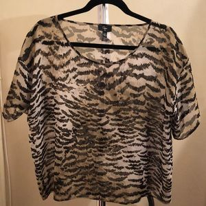 Animal Print Sheer Crop Top